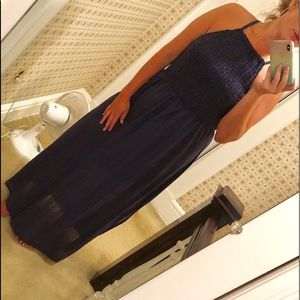 Navy Cotton Maxi Dress NWOT